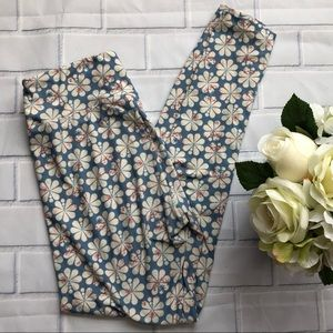 LuLaRoe OS Blue and Cream Floral Print Leggings